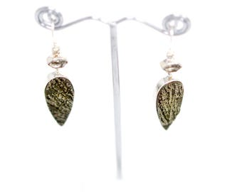 Pyrite and Herkimer Diamond Sterling Silver Earrings