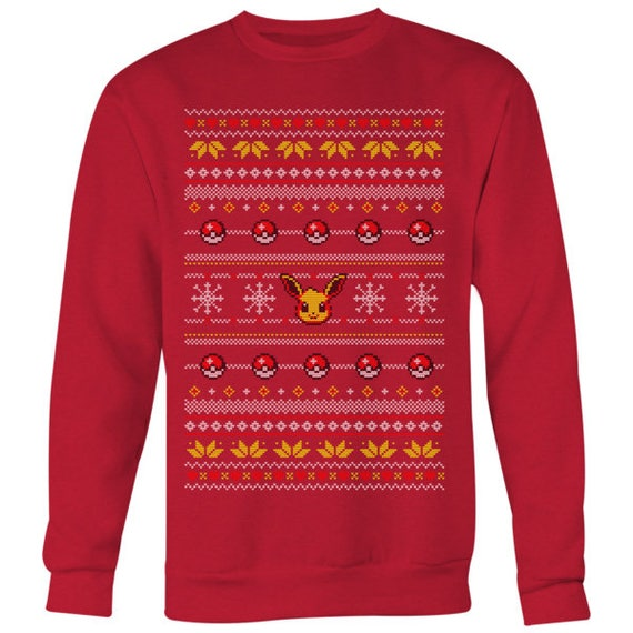 Pokemon Christmas Sweater.Eevee Pokeball Ugly Christmas Sweater Anime Pokemon Inspired Sweater Retro Gameboy Gamer Jumper Pokemon Go Evolution Anime Sweatshirt