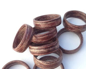 Wine colored wooden ring