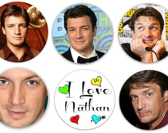 "Nathan Fillion Set Of 6 Different 1.25"" Pinback Buttons, Magnets or Scrapook Flair Flatbacks"