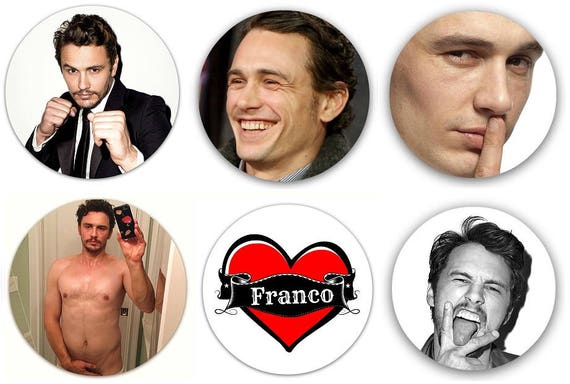 "James Franco Pinback Buttons or Fridge Magnets 1.25/"" Set Of 6 Different Images"