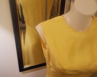 Yellow silk years 60 dress