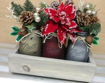 Christmas Holiday Rustic Country Mason Jar Centerpiece