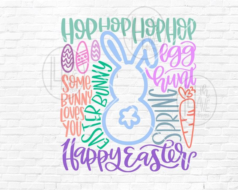 Easter SVG  Word Art  Happy Easter SVG  Easter Bunny  Easter Typography  Hand Lettered  Easter Sublimation PNG