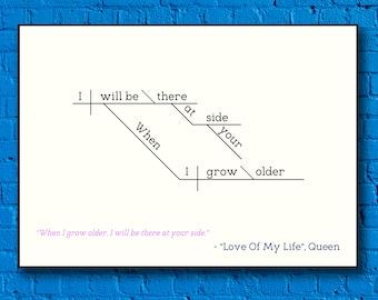"Queen - ""Love of My Life"" - Sentence Diagram Print"