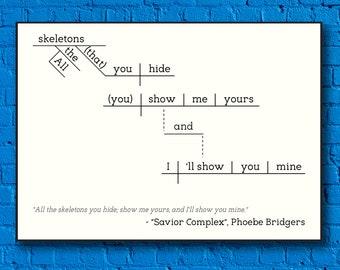 Phoebe Bridgers - Savior Complex - Sentence Diagram Print