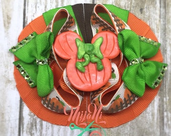 Pumpkin Patch - Fall - Stacked Boutique Bow - Hairbow - Clay Centerpiece - Orange - Green - Brown - Creme - Rhinestone - Bling - Clip