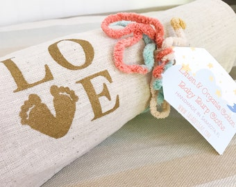 Personalized Baby Burp Cloth Set / Linen & Organic Cotton