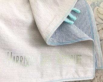 Personalized Light weight Baby Throw / Searsucker & Linen