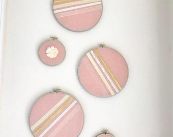Nursery wall Decor / Ribbon & Silk Fabric Circles