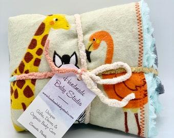 Animal Theme Baby Blanket / Organic Cotton/ Plush & Cozy