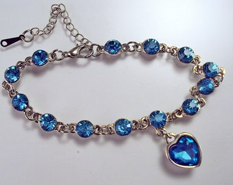 """Precious Blue Crystal Silvertone Charm Bracelet with Blue Crystal Heart Charm Adjustable from 7"""" to 9 1/2"""""""