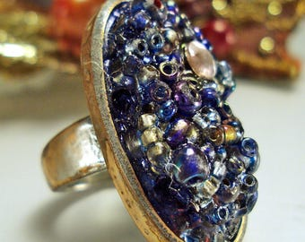 Outrageous Creepy Monster Ring with Huge Seed Bead Gemstone sz 5