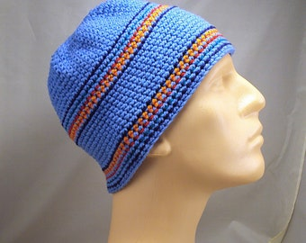 Men's Handmade Cotton Skull Cap Crocheted and Embroidered sz L/XL