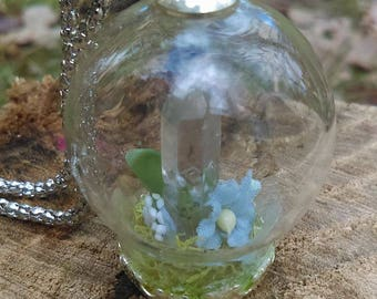 Clear Quartz Point Orb Crystal Terrarium