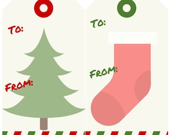 Printable Christmas Gift Tags 8 Different Designs Instant Download