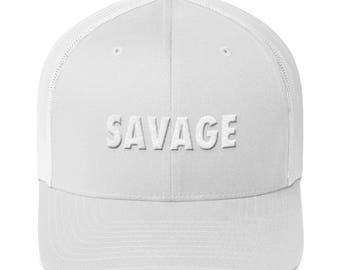 SAVAGE Hat   SAVAGE Trucker Cap in White and Black 469295b70946
