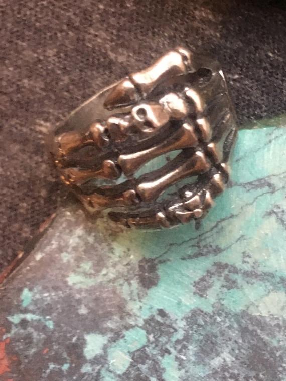 Vintage biker goth sterling silver ring