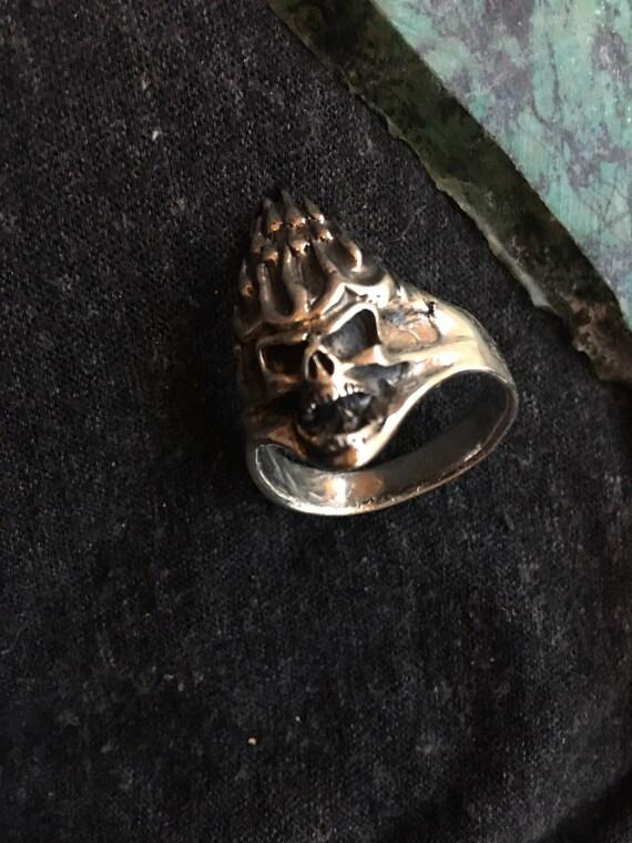 Vintage goth Harley biker sterling ring