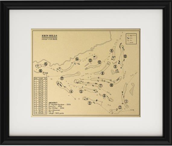 Erin Hills Golf Course Outline Print Etsy