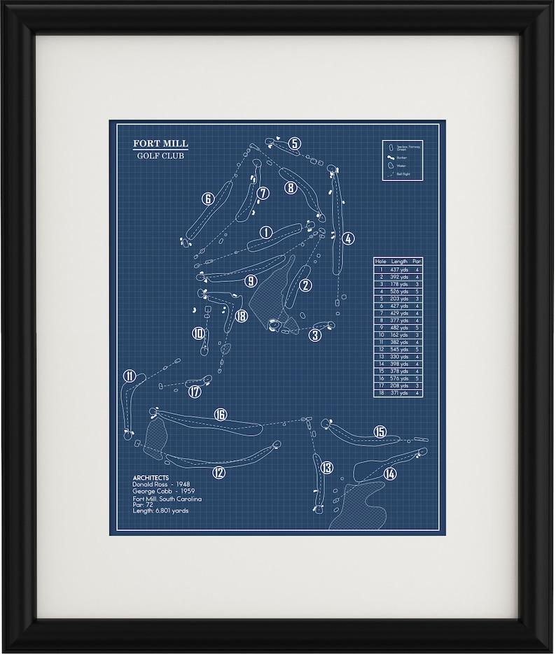 Fort Mill Golf Club Blueprint Print Etsy