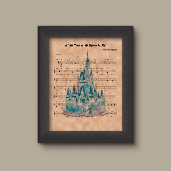 Disney Castle Watercolor When You Wish Upon A Star Sheet Music Art Print