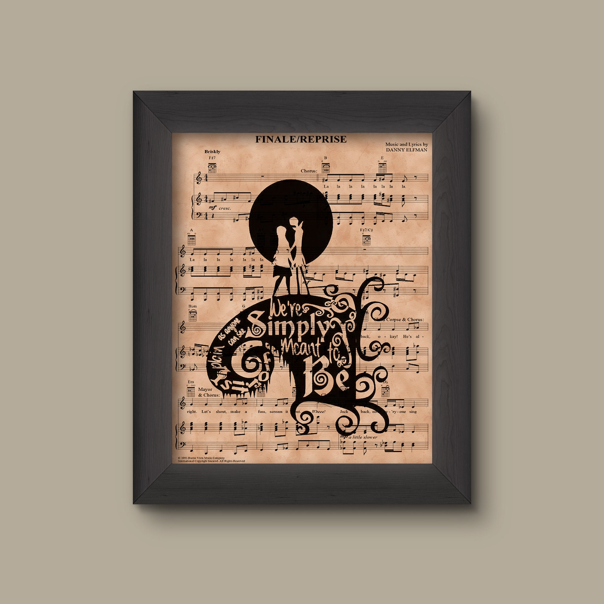 Nightmare Before Christmas Simply Meant to Be Sheet Music Art | Etsy