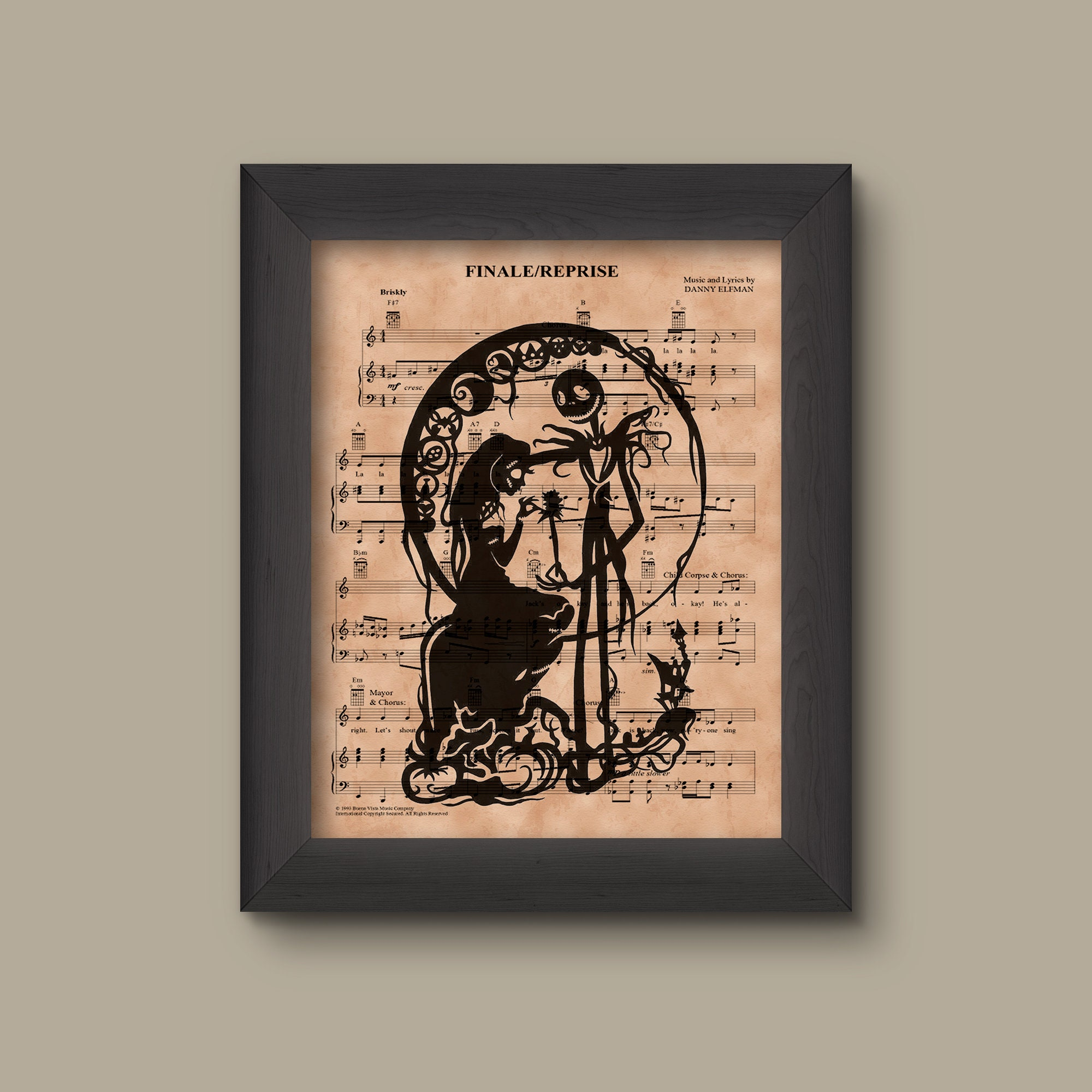Nightmare Before Christmas Simply Meant to Be Sheet Music Art   Etsy