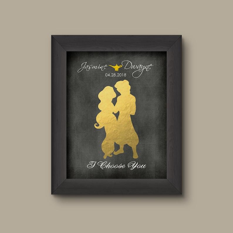 Disney Aladdin Jasmine Foil Art Print, Aladdin Wedding Gift, Aladdin  Anniversary Gift, Aladdin Wedding Sign, Disney Princess, Disney Bride
