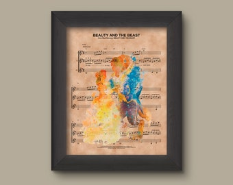 Beauty and the Beast Watercolor, Disney Wedding Gift, Disney Anniversary Gift For Her, Belle And Beast Poster, Wall Decor, Sheet Music Print