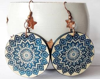 Handmade decoupage jewelry Mandala Earrings Wooden Earrings Art Earrings Natural earrings Women gift Christmas gift Decoupage paper art