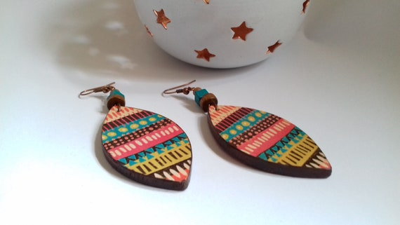 Ethnic Leaf earrings Natural wood Decoupage earrings Colorful Wood Earrings Gipsy Jewelry earrings Dangle Bohemian earrings Gift for women