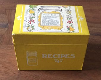 Vintage Yellow Recipe Box, Pear Relish Design, Kitchenalia, Kitsch, Fun and Bright