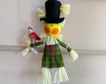 Vintage Scarecrow with Bird Plant Stake, Japan Sticker, Halloween, Fall, Retro, Plants, Centerpiece, Fall Decor, Halloween Decor, Kitsch