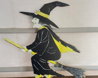 Vintage Halloween Witch Cardboard Stand Up, Witchy Woman, Halloween Decorations, Retro, Cardboard Standups