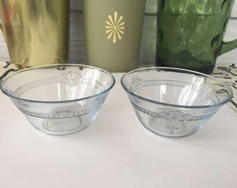 Set of 2 Vintage Fire King Blue Embossed Glass Custard Bowls, Dessert Bowls, Chef, Retro, Retro Kitchen, Vintage Kitchen, Snacks, Cooking