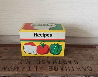 Vintage Chef Boyardee Recipe Box, Metal Bix, Kitchen Decor, Retro