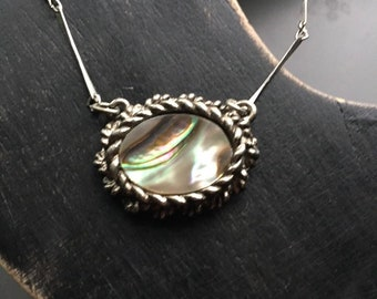 """Mid Century Mother of Pearl Pendant on Long Link Chain, Sweetheart Necklace, 15"""""""