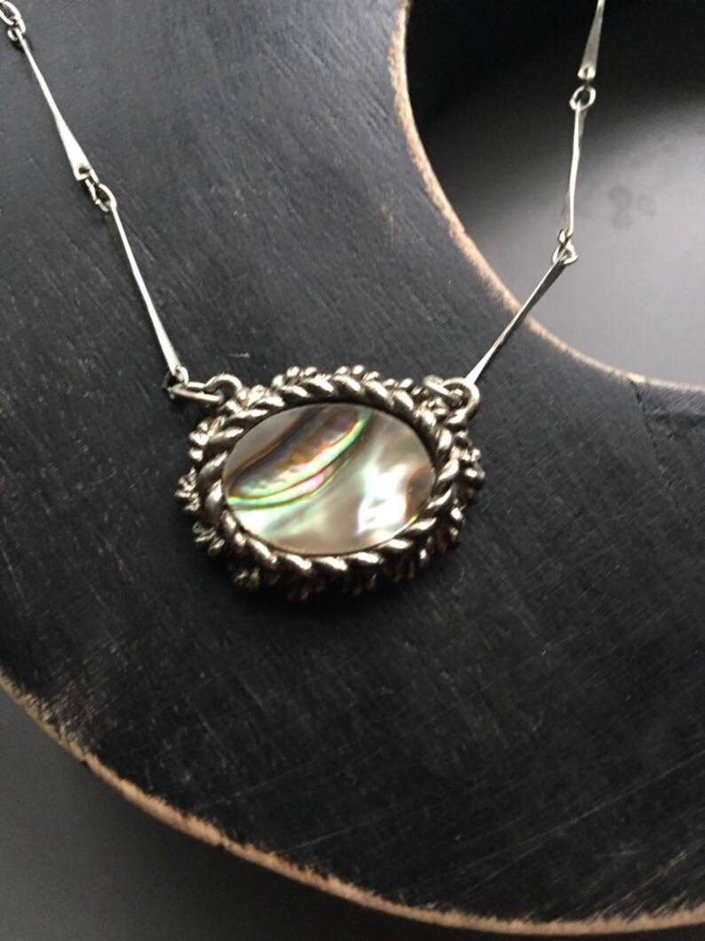 Sweetheart Necklace 15\u201d Mid Century Mother of Pearl Pendant on Long Link Chain
