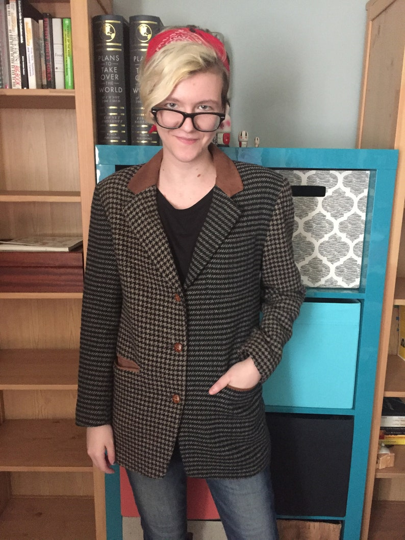Vintage Fashion Vintage Limited XS Houndstooth Jacket Retro Suede-like Collar Tan Gray Fall Women/'s Blazer Covered Buttons Lined