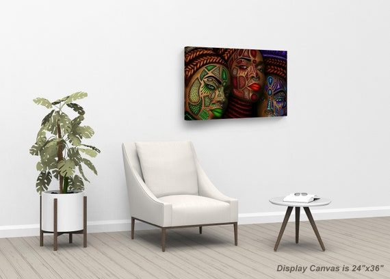 Three African Women Stylish Make Up Modern Art Painting Canvas Print African Wall Art Modern Bedroom Wall Decor Ready To Hang