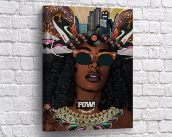 Nice African American Wall Art Woman Beauty CANVAS PRINT POW! Pop Art Music Home  Decor Artwork