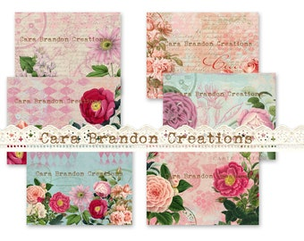 and background pages butterflies tags fresh colors ephemera botanicals Spring Up and Bloom digital Junk Journal Kit with journal pages