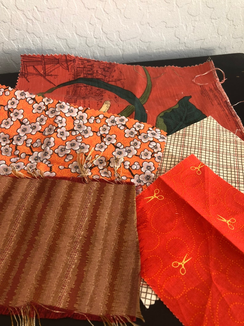 Retro Papers ribbon and vintage buttons vintage music sheets fabric Orange Junk Journal Kit with Vintage retro ephemera lace