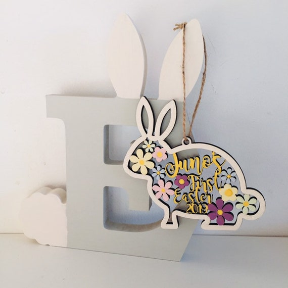 Easter Decoration Personalised Wooden Hanging Easter Bunny Rabbit 12cm Tree Gift