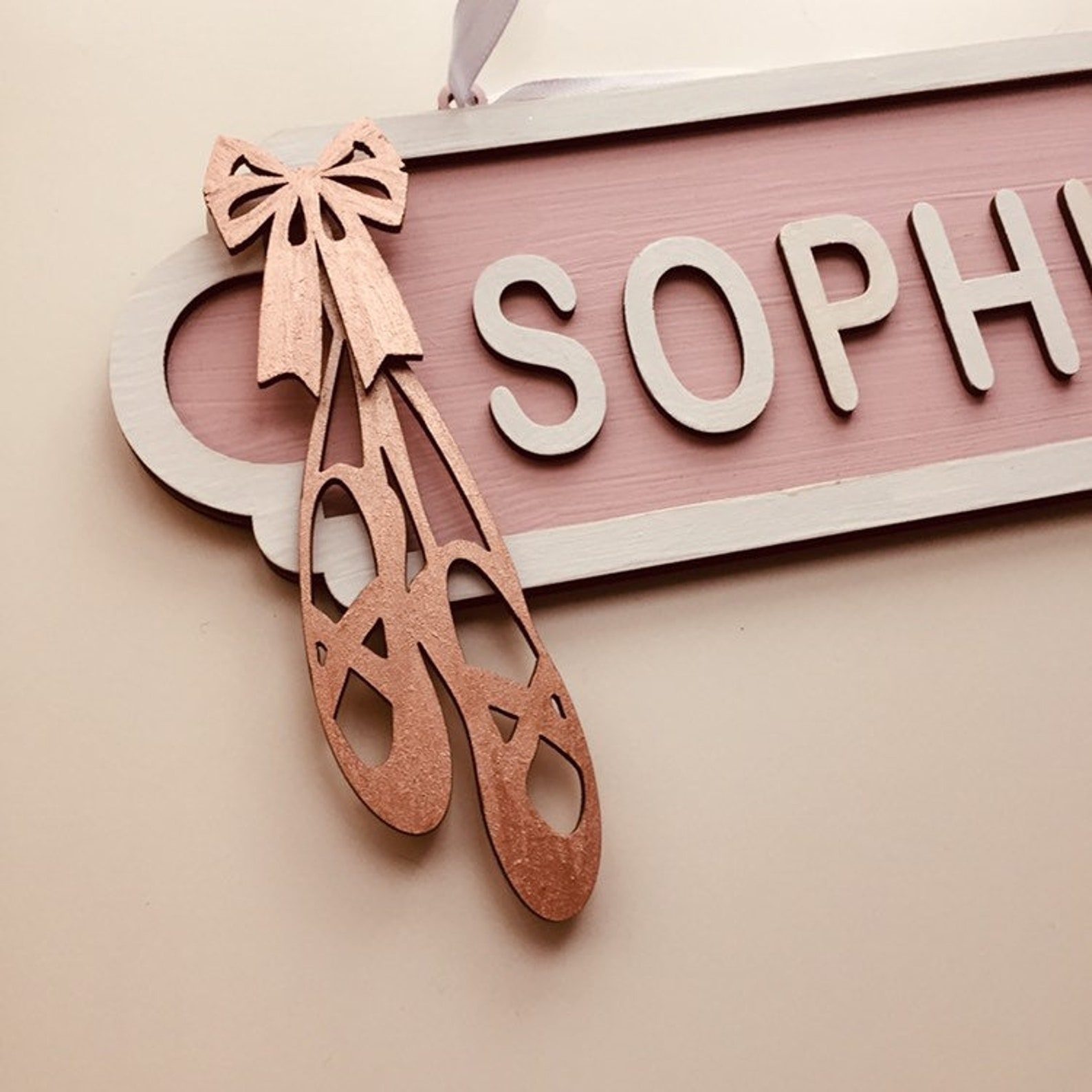 ballet street sign, girls birthday gift, rose gold sign, personalised wooden plaque, new baby present, rosegold decor