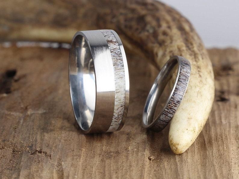 2f2f6fef6d3b1 Customizable His and Hers Deer or Elk Antler Rings, Free Inside Engraving,  Wedding Band Set with Antler, Women's Rings, Mens Ring Elk Antler