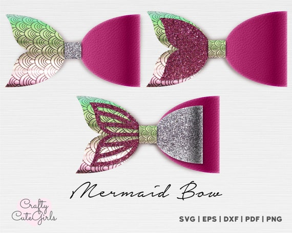 Mermaid Bow Template Mermaid Bow Svg Faux Leather Bow Etsy