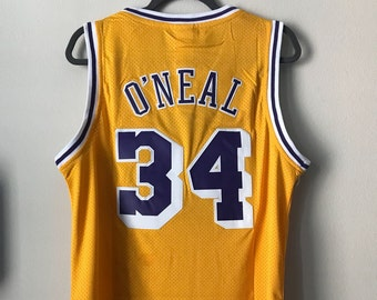 dab5c625908 Shaquille O'Neal #24 Los Angeles Lakers Yellow Basketball Vintage Jersey  Men's