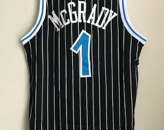 92a2e4548 Tracy Mcgrady  1 Orlando Magic Black Basketball Vintage Jersey Men s